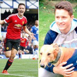 La stella del Manchester United Ander Herrera e Tony, il suo amico greyhound