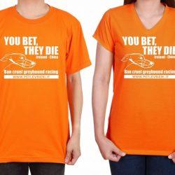 Le t-shirt  della campagna #closethecanidrome  e #stopgreyhoundexportstoMacau