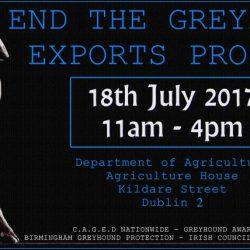Dublino – Dimostrazione contro l'esportazione dei greyhound – Martedì 18 luglio