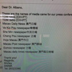 Straordinaria copertura TV, Radio e giornali, a tiratura interna e internazionale per la Conferenza Stampa di Anima Macau