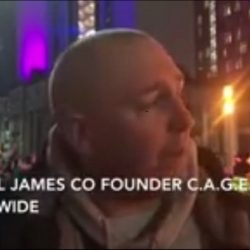 Michael James at the GBGB AWARDS PROTEST (London – 28th January 2018) explaining why we fight so hard for the dogs!