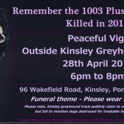 28 April 2018 : The BIG Kinsley Vigil for 1003 Plus Greyhounds Killed in 2017