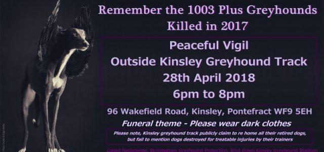 Veglia per gli oltre 1003 levrieri uccisi nel 2017 in UK – 28 aprile